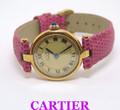 Silver Vermeil 18k GP MUST DE CARTIER Round Ladies Quartz Watch* MINT Condition