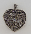 Sterling Silver NICOLE St.GILLES Ladies HEART Pendant Watch w/20 Inches Chain