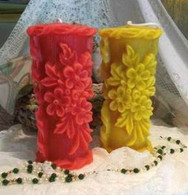 Silicone Raised Flower Design Pillar Candle Mold