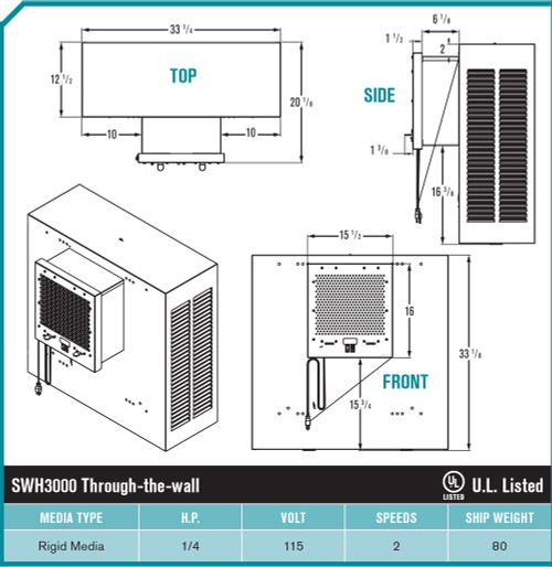 Brisa Slim Wall Garage Evaporative Cooler 3000 Cfm