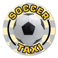 Soccer has evolved into the world's most popular sport and is played in over 200 nations. You can show your pride of being a part of the world's most popular sport by placing this magnet on your car. Let the world know that you're proud to be a soccer taxi, driving your kids to their soccer practices and games!