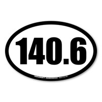 140.6 (Full Ironman Triathlon) refers to the total distance in miles completed in a race which includes swimming, biking, & running. Let the world know you ran the full IRONMAN triathlon and celebrate your accomplishment with this oval car magnet!