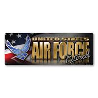 Air Force Retired Chrome Mini Bumper Strip  Magnet