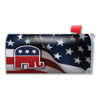 American Flag with Republican Elephant Mailbox Cover Magnet