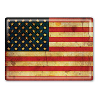 American Flag Grunge Rectangle Button Magnet