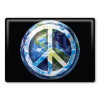 Peace Sign on Earth Rectangle Button