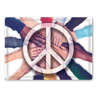 Peace on Hands Rectangle Button Magnet