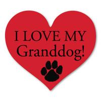 I Love My Granddog Heart Magnet