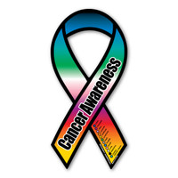 Cancer Awareness Rainbow Ribbon Magnet