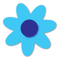 Blue and Blue Flower Magnet