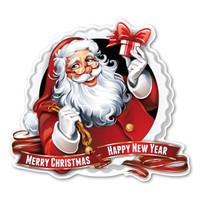 Merry Christmas/Happy New Year Santa Magnet