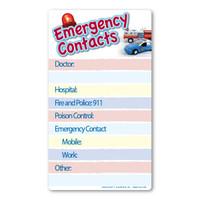 Emergency Contacts Memo Board Indoor Magnet