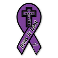 Jesus Is Lord Purple Ribbon Magnet