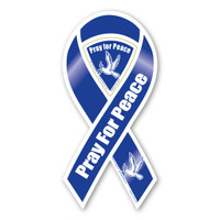 Pray For Peace Blue Ribbon Magnet