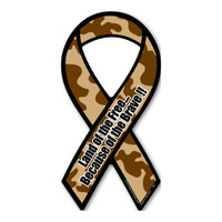 Land of The Free Because of The Brave (Brown Camo) Mini Ribbon Magnet