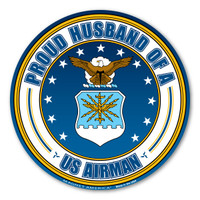 Proud Husband of a US Airman Circle  Magnet