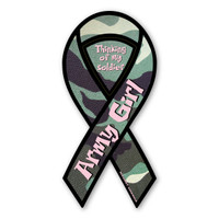 Green Camo Army Girl Ribbon Magnet