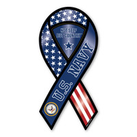 The U. S. Navy was founded in 1775 as the Continental Navy during the Revolutionary War. Today, the men and women of the Navy continue to serve our country and protect our freedom. This Large U. S. Navy Ribbon Magnet is a great way for current and former members of the Navy to show pride in their branch, for others to show their support, and for all to remember the selfless dedication shown by the men and women who serve our country.