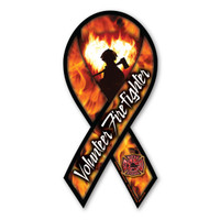 Volunteer firefighters work very hard to become a firefighter through hours of training and dedication. It is a rewarding way to serve your community. This ribbon magnet features the silhouette of a firefighter with flames in the shape of a heart to symbolize the courage that is exhibited daily by our brave firemen and women. The Maltese cross symbol is also featured in the bottom right corner. Great design for fundraisers and firefighter support events for the the volunteers.