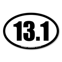 13.1 half marathons are the fastest growing race.  It is challenging and a great way to begin your training for marathons. Celebrate your half-marathon accomplishments with this 13.1 black and white oval decal!