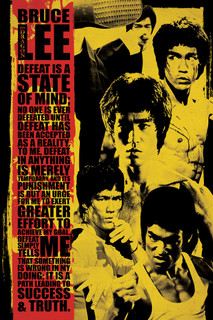 Bruce Lee Montage Defeat Is a State Of Mind Quote Poster 24x36