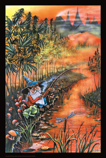 Gnome Fishin Art Print Blacklight Poster 24x36