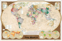 World Map Winkel Tripel Projection Classroom Educational Poster 36x24