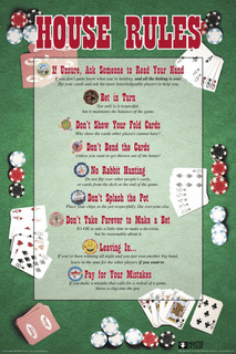House Rules Poker Chart Game Room Poster 24x36