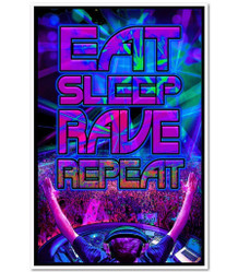 Eat Sleep Rave Repeat Music Blacklight Poster 23x35