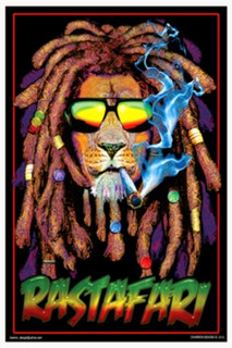 Rastafari Lion Smoking Blacklight Poster 24x36
