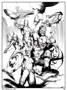 Marvel Avengers Group Comic Books Coloring Poster