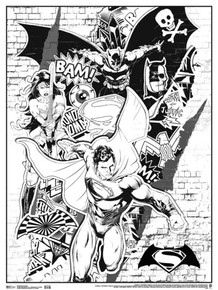 Batman vs. Superman Street Art Comic Book Coloring Poster