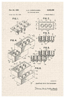 Building Brick Toy 1961 Official Patent Blueprint Poster 24x36 inch