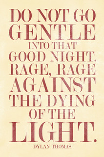 Dylan Thomas Do Not Go Gentle Into That Good Night Cream Poster - 12x18
