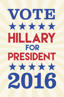 Vote Hillary Clinton President 2016 Tan Sunburst Campaign Poster 12x18