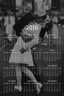 The Kiss VJ Day Times Square NYC New York City Sailor Woman White Dress 2016 Calendar - 12x18