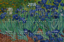 Vincent van Gogh Irises 1890 Dutch Post Impressionist Painter Artwork Painting 2016 Calendar - 12x18