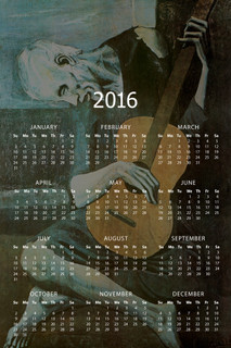 Pablo Picasso The Old Guitarist Oil On Panel Expressionism Painting Artwork 2016 Calendar - 12x18