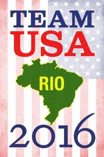 Rio De Janeiro Team USA 2016 Summer Games Brazil American Flag Poster 12x18