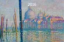 Claude Monet The Grand Canal French Impressionist Painting Print Artwork Art 2016 Calendar - 12x18