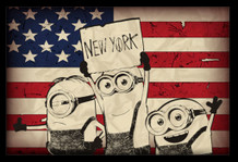 Minions Despicable Me New York Sign American Flag Old Glory NYC Movie Film Framed Poster - 36x24