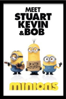 Minions One Sheet Meet Stuart Kevin And Bob Despicable Me Comedy Film Movie Framed Poster - 24x36