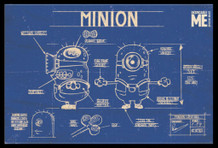 Minions Blueprint Schematics Despicable Me Comedy Film Movie Yellow Creatures Framed Poster - 36x24