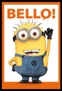 Minions Bello Banana Language For Hello Despicable Me Animated Movie Film Framed Poster - 24x36