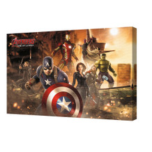 Avengers Age of Ultron Destruction Team Iron Man Captain America Hulk Stretched Canvas - 36x24