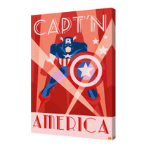 Captain America Art Deco Marvel Comics Superhero Avengers Red White Blue Stretched Canvas - 36x24