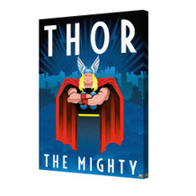 Thor Marvel Comics Superhero Superhuman Avengers Skyline Art Deco Stretched Canvas - 24x36