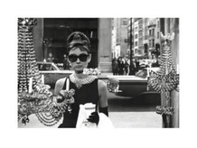 Audrey Hepburn Window Scene Breakfast Tiffanys Holly Golightly Movie Thick Cardstock Poster - 32x24