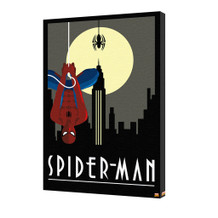 Spider-Man Art Deco Dark Skyline Moon Spider Hanging Retro Marvel Comics Stretched Canvas - 24x36