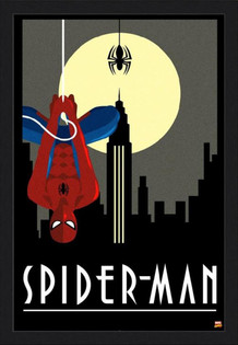 Spider-Man Art Deco Dark Framed Poster - 24x36
